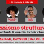 Invito - Conferenza online | Razzismo strutturale: Scambi di prospettive tra Italia e Germania, martedì 14.07, ore 20-22