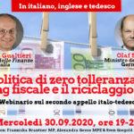 """Webinar """"Zero tolleranza verso il riciclaggio di denaro"""" con i ministri delle finanze italiano e tedesco"""